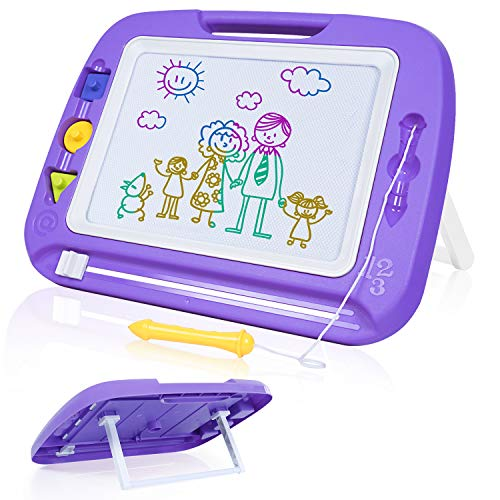 SGILE Jumbo Magnetic Drawing Board, 13X17 Large Magna Doodles Erasable Kids Toy, Writing Painting Sketching Pad for Toddler Kids Skill Development, Purple