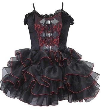 Dark Star Gothic Velvet Stitch Edged Layered Organza Party Dress