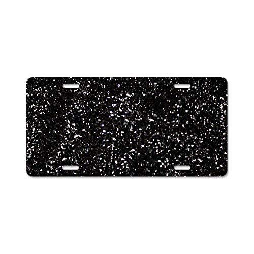 Davis Relev Black Glitter - Aluminum License Plate,Front License Plate 12 x 6 Inches