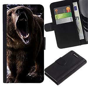 KLONGSHOP // Tirón de la caja Cartera de cuero con ranuras para tarjetas - Oso del rugido - Sony Xperia Z3 Compact //