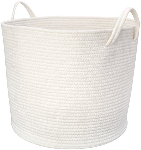 Mkono Large Cotton Rope Storage Basket with Handles for Nursery Kids' Room Bathroom Laundry, White, 17''Lx16''Wx14''H by Mkono