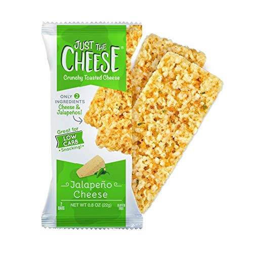 Just the Cheese Bars, Crunchy Baked Low Carb Snack Bars. 100% Natural Cheese. High Protein and Gluten Free, Jalapeno (12 Two-Bar Packs)
