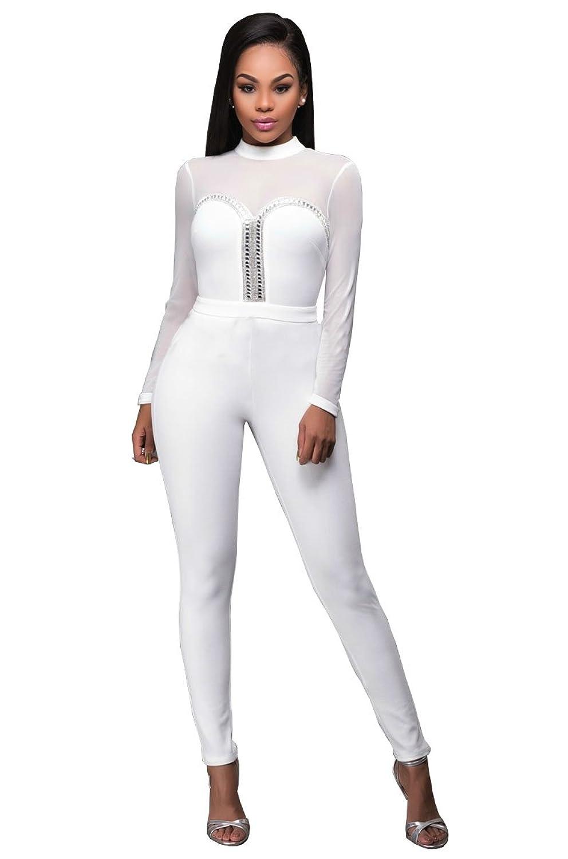 Aecibzo Women's Long Sleeve Bodycon Jumpsuit Romper Long Clubwear Pants