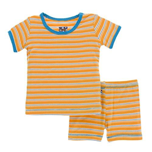 (Kickee Pants Little Boys Print Short Sleeve Pajama Set with Shorts, Tamarin Brazil Stripe, 2T)