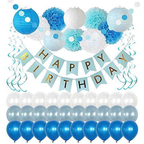 Birthday Party Decorations 49 Piece kit - White and Blue Party Supplies and Favors for Kids - Happy Birthday Banner, Balloons, Pompoms, Paper Lantern, Glitter Garland, Swirl – by Yana's Corner