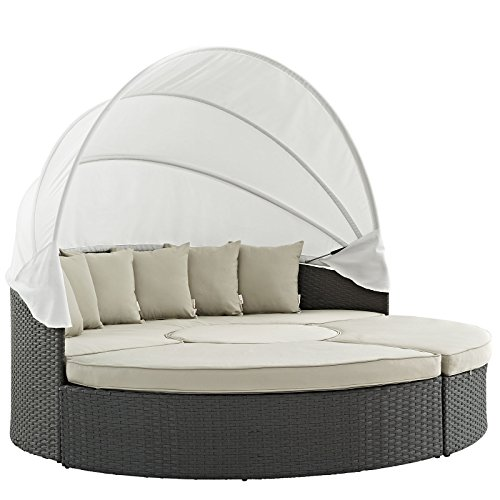 Beige Antique Bed - Modway Sojourn Outdoor Patio Sectional Daybed with Canopy With Sunbrella Brand Antique Beige Canvas Cushions