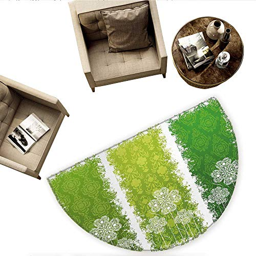 - Irish Semicircular CushionAged Vintage Antique Figures on Green Toned Color Bands Celtic Historic Lace Image Entry Door Mat H 70.8