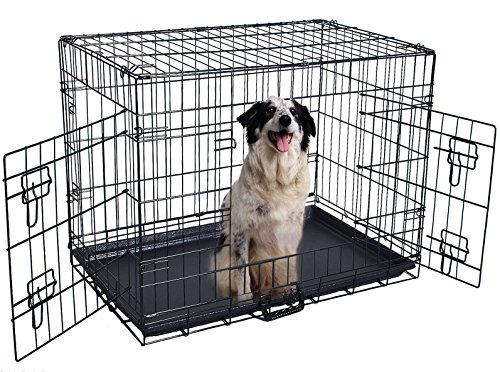 48' 2 Doors Wire Folding Pet Crate Dog Suitcase Play pen Tray (Dog Smoking Jacket Costume)