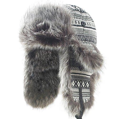 (Janey Rubbins Unisex Winter Knit Russian Ushanka Cossack Trapper Aviator Cap Hat )