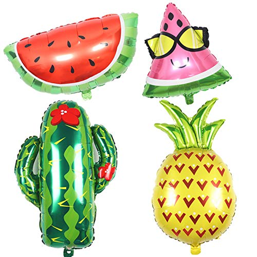 4 Pcs Giant Helium Summer Fruit Cactus Balloon Pineapple Balloons for Western Cowboy Hawaiian Luau Summer Theme Birthday Party Decorations Hawaiian Party Foil Balloons Kit