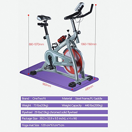 OneTwoFit Indoor Exercise Bike Cycling Spinning Bike Home Gym Cardio Training Workout OT018G