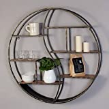 Rack shelf Vintage Wrought Iron Round Shelves Industrial Wind Creative Bookshelf Clapboard Storage Rack Restaurant Wall Racks ( Size : 80.5cm )