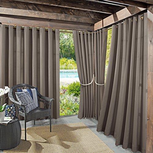 Sun Zero Indoor/Outdoor Woven Solid Window Curtain Reed Bloc