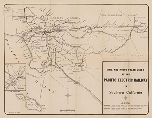 Railway Map Electric Pacific (Pacific Electric Railway Map 1945|24in x 19in Historic Transit/RR Map Vintage Reprint)