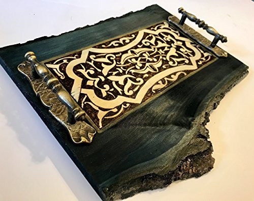 Exquisite Handmade and Handcrafted Beautiful and Elegant Midnight Blue Wood Natural Tray With A Medieval Woodburned Design - Rustic Home Decor, Wedding Present, Or Unique Coffee Table Accent