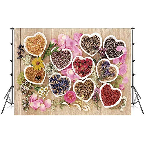 Floral Stylish Backdrop,Healing Herbs Heart Shaped Bowls Flower Petals on Wooden Planks Print Healthcare Decorative for Photography Festival Decoration,59''W x 39''H ()