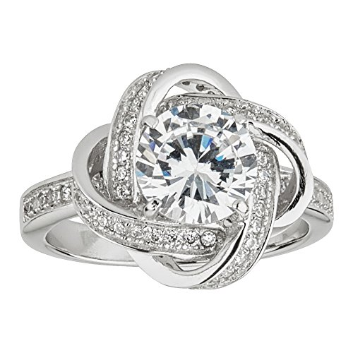 Sterling Silver Rhodium Solitaire Love Knot Cubic Zirconia Engagement (Cubic Zirconia Knot Ring)