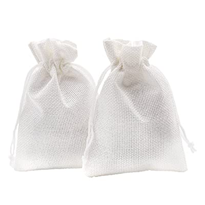SumDirect Linen Gift Sachets Favors Pouches Party Wedding Jewelry Craft Sacks White Burlap Bags with Nylon Drawstring, 3.7x5.5Inches,Pack of 20 by SumDirect