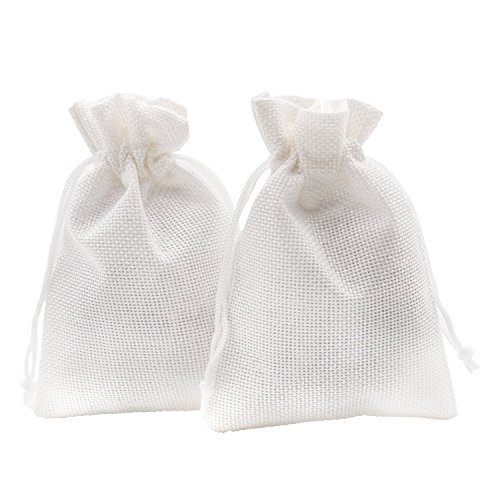 - SumDirect Linen Gift Sachets Favors Pouches Party Wedding Jewelry Craft Sacks White Burlap Bags with Nylon Drawstring, 3.7x5.5 Inches,Pack of 20
