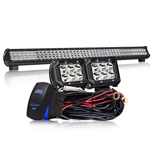 - KEENAXIS 39 Inch 252W LED Spot Flood Combo Bar 2PCS 4Inch 18W Cube Pods LED Driving Lights with Rocker Switch Wiring Harness for SUV UTE ATV Truck 4x4 Boat ,1Years Warranty