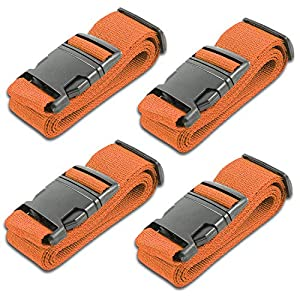 HeroFiber Orange Luggage Belts Suitcase Straps Adjustable and Durable, Name Card, Travel Case Accessories, 4 Pack