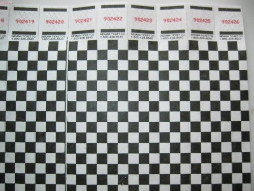 100 Black Checkered Consecutively Numbered Tyvek ()