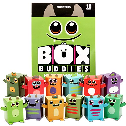 Box Buddies Monsters - Pack of 12 Mini Box Monsters - Fun Papercraft Party Favors - Cute Halloween Goody Bags