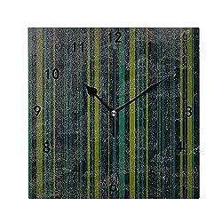 CAIBOSS Vertical Bold Stripe Wall Clock, Silent Non Ticking Battery Operated Decorative Wall Clock