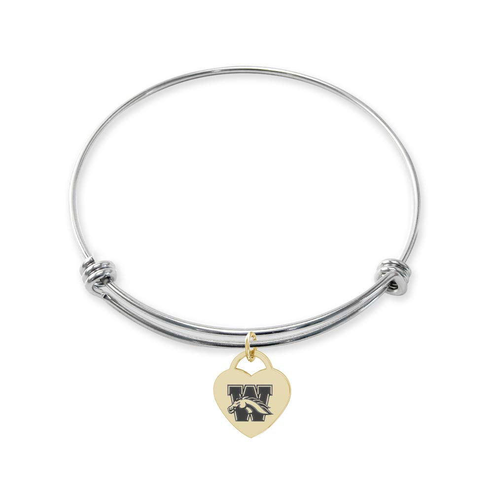 College Jewelry Western Michigan University Broncos Stainless Steel Adjustable Bangle Bracelet with Yellow Gold Plated Heart Charm