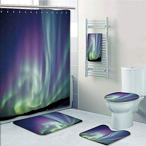 Bathroom 5 Piece Set shower curtain 3d print Multi Style,Northern Lights,Exquisite Atmosphere Solar Starry Sky Calming Night Image,Mint Green Dark Blue Violet,Bath Mat,Bathroom Carpet Rug,Non-Slip,Bat by iPrint