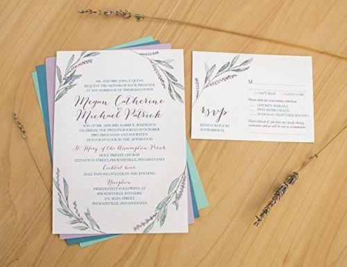 Lavender Wreath Wedding Invitation, Watercolor Wedding Invitation, Watercolor Invitation, Backyard wedding invitation, Lovely - Painted Invitations Hand Wedding