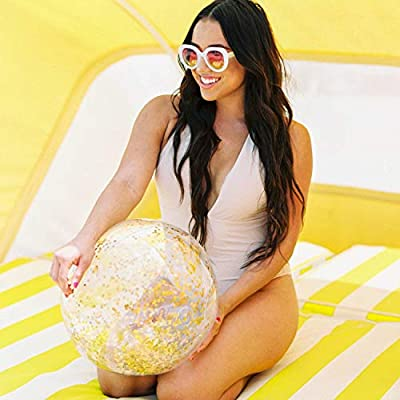 Poolcandy Gold Holographic Glitter Beach Ball - Inflatable Jumbo Beach Ball - Glitter Sparkles and Shines in The Sun - Pool, Beach, Gold Decoration Float: Toys & Games