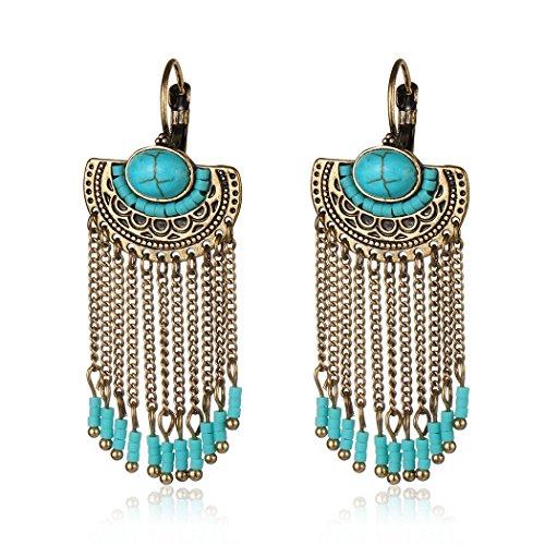 Ethnic Antique Gold Silver Half Round Carving Flower Resin Beads Long Chain Tassel Earrings for women (Gold)
