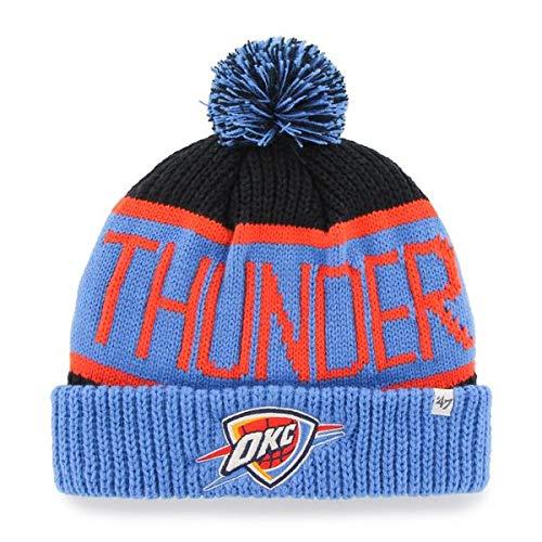 '47 Oklahoma City Thunder Blue Cuff Calgary Beanie Hat with Pom Pom - NBA OKC Cuffed Winter Knit Toque Cap (Oklahoma City Thunder Knit Hat)