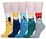 Mraw Cute Cat Design Women's Casual Comfortable Cotton Crew Socks - 5 Pack,(Yellow/Dark Green/Gray/Blue/Navy Blue),One Size