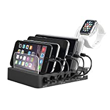 6-Port Charging Organizer Station Quick Charge Dock for iPhone 8/8 Plus/7/7 Plus/6S Plus/6S/6 Plus/6/5S/5C/5 iPad Samsung LG Huawei Android iOS Phone Pad Music Player Black