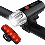 LEEQin USB Rechargeable LED Bike Light Set, Bicycle Headlight and Tail Light, Remaining Power Display, Waterproof Safety Flashlight for Camping, Kids, Men, Women Cycling For Sale