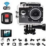 Podofo 4K WiFi Action Camera Ultra HD 16MP Waterproof Sports DV Camcorder 2.0 Inch LCD Screen 170 Degree Wide Angle and 19 Mounting Kits