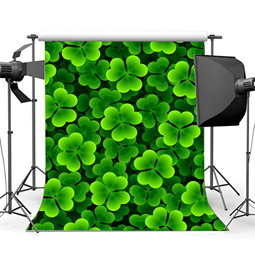 - Gladbuy 3X5FT Lucky Irish Shamrock Backdrop Happy St. Patrick's Day Vinyl Green Four-leaf Clover Spring Photography Background for Kids Baby Party Decoration Wallpaper Photo Studio Props KX28