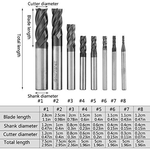 Wolframstahl-Fräser, Hartmetall-Schaftfräser , 8Stk. 2-12mm 4-Flöten-Hartmetall-Schaftfräsersatz Wolframstahl-Fräser-Werkzeugsatz