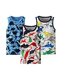 benetia Boys Cotton Undershirts Kids Tanks Toddler Tops 3-Pack