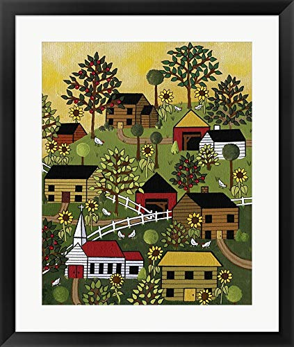10 Chicks by Medana Gabbard Framed Art Print Wall Picture, Black Frame, 24 x 29 - Framed Chicks