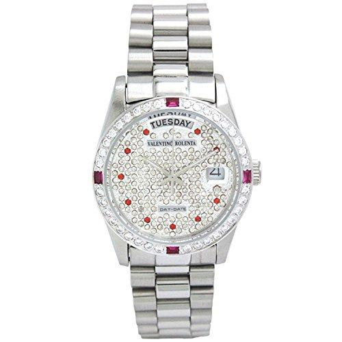 VALENTINO ROLENTA watch round paved watch all stainless Red Crystal VR-5001-G-M-RU R-21 - Valentino Mens Watch