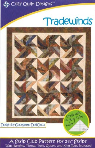 Trade Winds Tradewinds Quilt Pattern, Jelly Roll 2.5 Inch Strip Friendly, 5 Finished Size Options by Cozy Quilt Designs