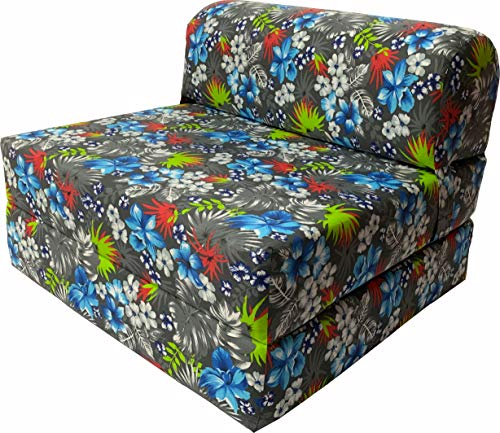 D&D Futon Furniture Tropical Flowers Blue Sleeper Chair Folding Foam Bed Sized 6x48x72, Studio Guest Foldable Chair Beds, Foam Sofa, Couch, High Density Foam 1.8 Pounds.