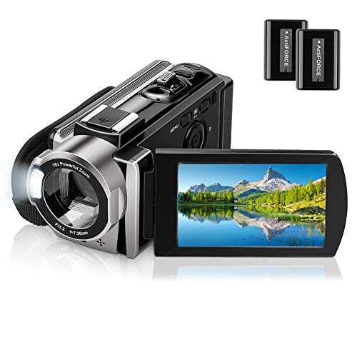 Video Camera Camcorder for YouTube Vlogging Digital Camera Full HD 1080P 15FPS 24MP Camcorder Webcam for Live Streaming 16X Digital Zoom 270° Rotatable Pause Function Recorder with 2 Batteries