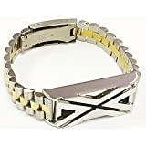 BSI New Silver & Gold Two Tone Metal Links Replacement Jewelry Bracelet With Unique Style Silver Metal Housing For Fitbit Flex Smart Band