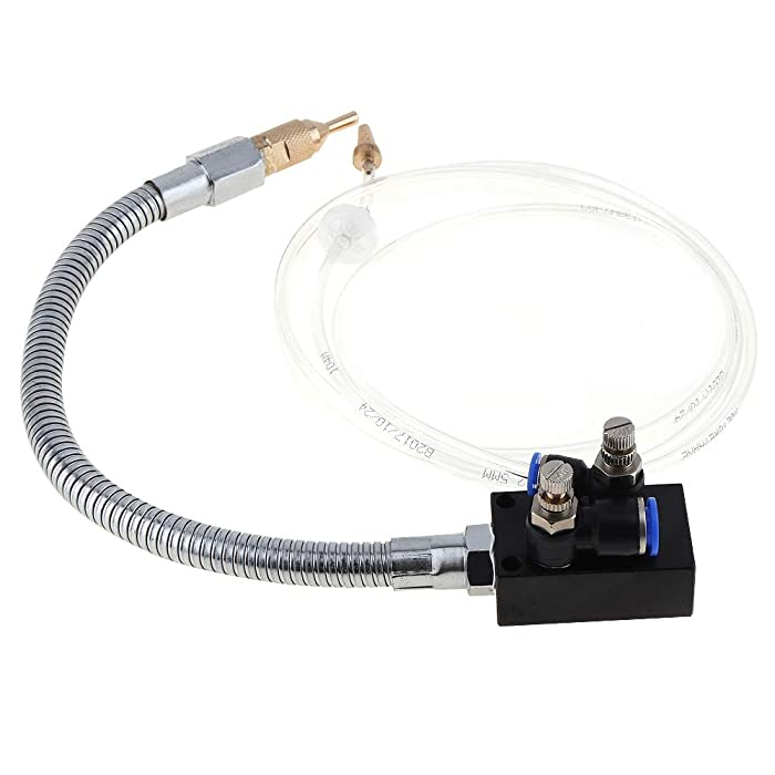 ChgImposs Mist Coolant Lubrication Spray System With Check Valve and Stainless Steel Flexible Pipe for Metal Cutting Engraving Cooling Machine/Air Pipe CNC Lathe Milling Drill