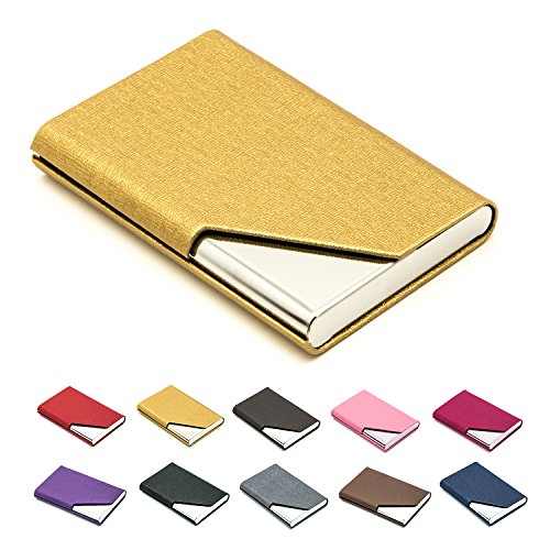 Business Name Card Holder Luxury PU Leather & Stainless Steel Multi Card Case,Business Name Card Holder Wallet Credit Card ID Case/Holder for Men & Women - Keep Your Business Cards Clean (Gold) ¡ ()
