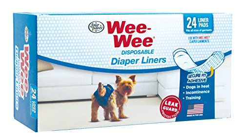 Four Paws Wee-Wee Dog Diaper Garment Pads, 24 Pack